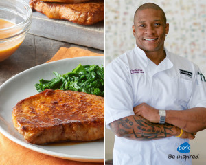 In celebration of Black History Month and American Heart Month, the National Pork Board (NPB) has teamed up with chef and TV personality Tre Wilcox, to share a variety of reimagined soul food-inspired pork favorites with a healthy twist. Featured recipe: Sizzling Chili Pork Chops from PorkBeInspired.com. (PRNewsFoto/National Pork Board)