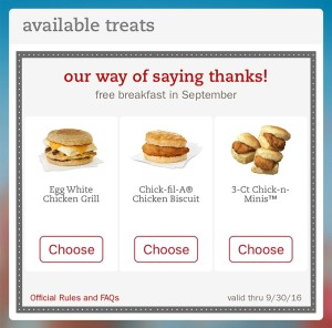 Any customer who downloads (or updates) the Chick-fil-A One app through September 10 will receive an offer for a free breakfast entree, redeemable through September 30. (PRNewsFoto/Chick-fil-A, Inc.)