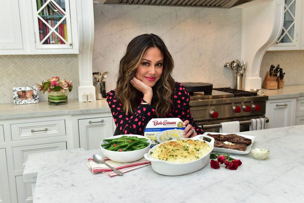 Vanessa Lachey in her kitchen for Bo Evans Farms